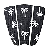 Premium Surfboard Traction Pad [CHOOSE COLOR] 3 Piece, Full Size, Maximum Grip, 3M Adhesive, for Surfing or Skimboarding (Black with White Palm Trees)