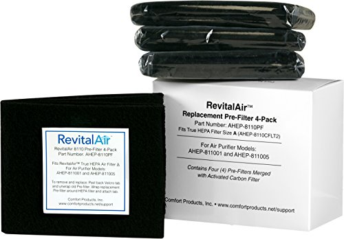 RevitalAir AHEP-8110PF Pre-filter with Activated Carbon, 4-Pack by RevitalAir