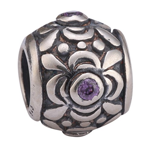 Flower Design Sterling Silver February Birthstone Charm Bead Amethyst Swarovski Crystal for European Charm Bracelets (Swarovski Crystal Bracelet Designs)