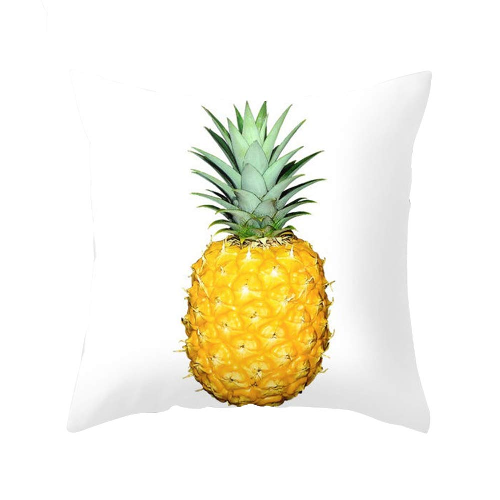 display08 Pineapple Leaf Yellow Pillow Case Sofa Waist Throw Cushion Cover Home Decor (1 Yellow Pineapple)