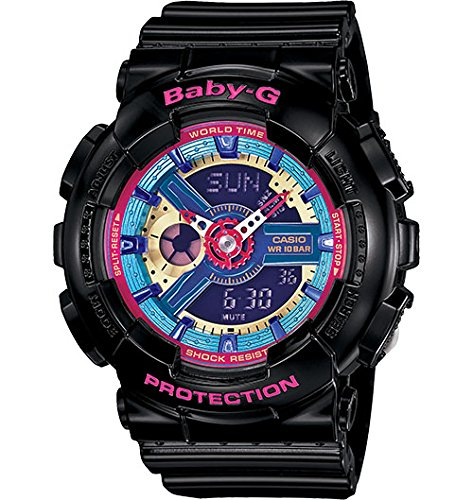 Casio BA112-1A Baby-G Multicolor Dial Black Resin Multi Quartz Woman's Watch