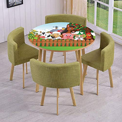 (iPrint Round Table/Wall/Floor Decal Strikers/Removable/Cute Farm Animals on The Fence Comic Mascots with Dog Cow Horse for Kids Decor Decorative/for Living Room/Kitchens/Office)