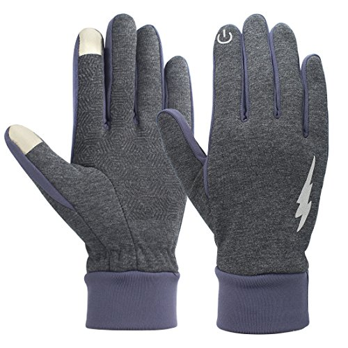 Cotton Thermal Gloves (Unisex Touch Screen Gloves - Winter Warm Thermal Gloves Outdoors Gloves Cycling Gloves Running Gloves Cold Weather Gloves Texting Gloves Driving Gloves for Men and Women (Gray, L))