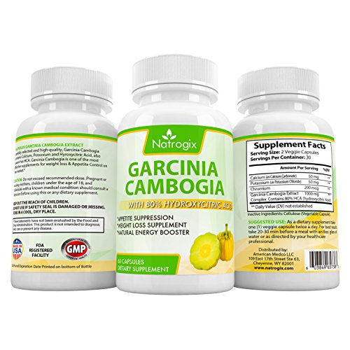 Natrogix Pure Garcinia Cambogia w/ 80% HCA (Hydroxycitric Acid) Complex All Natural Appetite Suppressant, Weight Loss Supplement Formula (60 Veggie Capsules)
