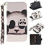 iPod 5 Case,iPod 6 Case,XYX [Panda][Painted Lanyard] PU Leather Wallet Case Kickstand Cover with Built-in Slots for iPod Touch 5 / iPod Touch 6
