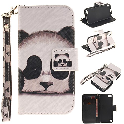 ase,XYX [Panda][Painted Lanyard] PU Leather Wallet Case Kickstand Cover with Built-in Slots for iPod Touch 5 / iPod Touch 6 ()