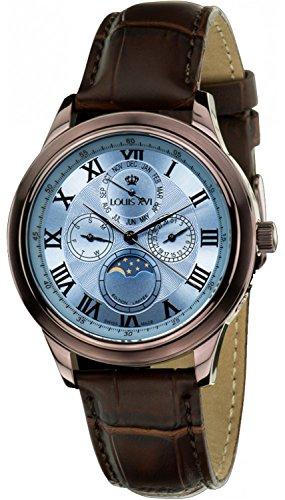 Louis XVI Women's Wrist Watch Élysée brun bleu Swiss Made Moonphase Analog Quartz Genuine Leather Brown 518