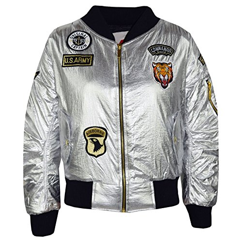 Kids Jacket Girls Boys Badges Print Bomber Padded Zip Up Biker Jacktes MA 1 Coat Metallic ()
