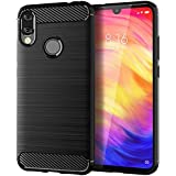 Cover case for Xiaomi Redmi Note 7, Carbon Fiber Rugged Shield Slim Back Cover - Black