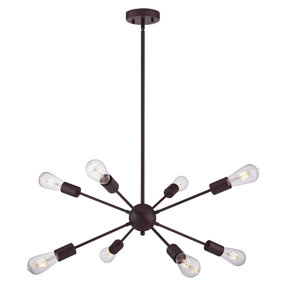 VINLUZ 8 Light Sputnik Chandelier Oil Rubbed Bronze Ceiling Light Fixtures Industrial Pendant Lights Modern Chandelier Lighting Kitchen Bathroom Dining Room Bed Room Hallway