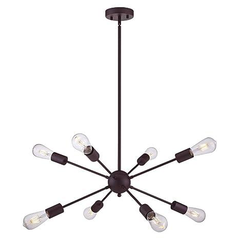 Vinluz 8 Light Sputnik Chandelier Oil Rubbed Bronze Ceiling Light Fixtures Industrial Pendant Lights Modern Chandelier Lighting Kitchen Bathroom