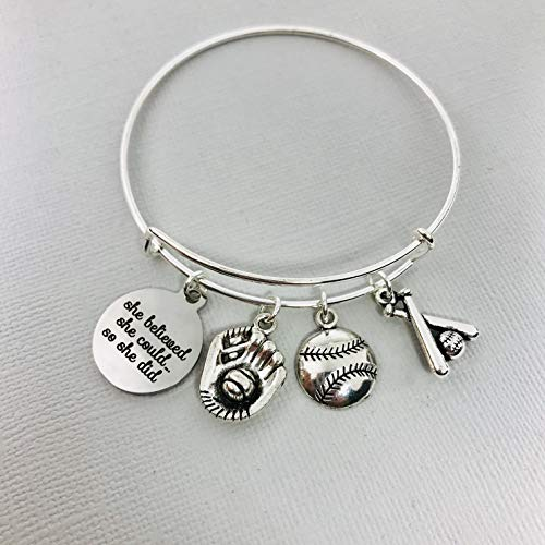 (Inspirational Softball Charm Bangle Bracelet Jewelry Gift for Women)