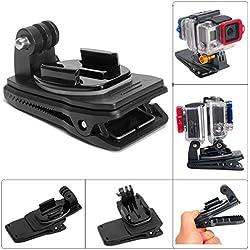Fantaseal 360 Degree Rotary Dual-Cam GoPro Clip Backpack Mount, Dual-Cam Rec-Mount Hat Clip Clamp Mount for GoPro Hero 4 / 3+/ 3 / Session + SJCAM SJ6000 / 5000 / 4000 + Garmin Virb VE + More