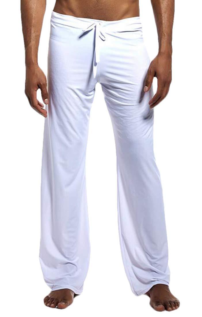 BU2H Men Yoga Lounge Wear Loose Drawstring Waist Long Pants Pajamas Bottoms White US L