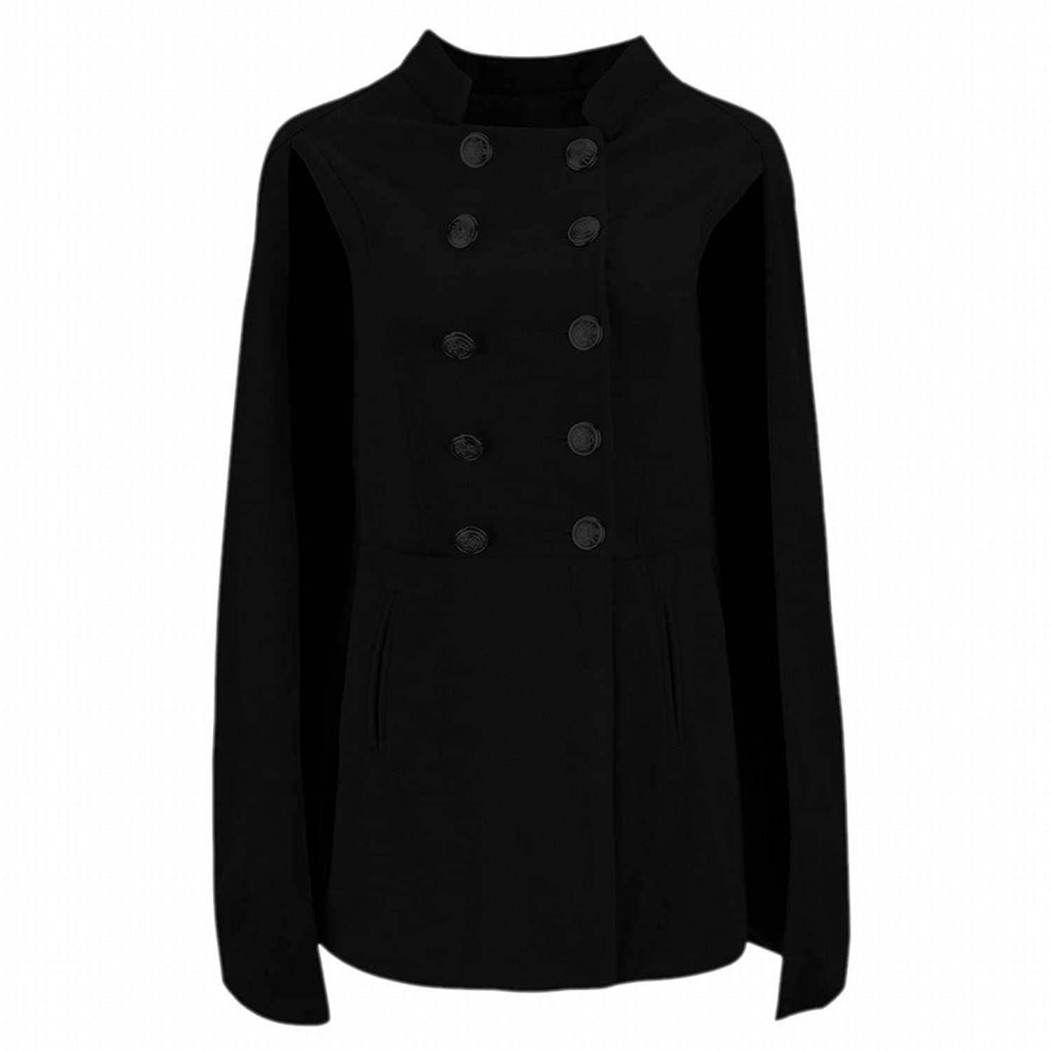 XQS Womens Stylish Classic Spliced Cape Double-Breasted Peacoats