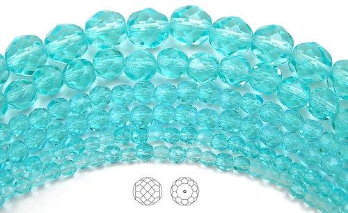Round Firepolish Czech Glass Beads (4mm (102) Aqua, Czech Fire Polished Round Faceted Glass Beads, 16 inch strand)