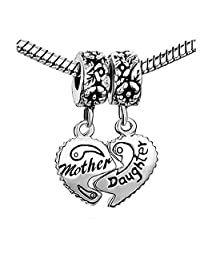 "Set of 2 Pcs "" Heart w/ Mother & Daughter "" Dangle Charms Bead For Snake Chain Charm CharmCharm Bracelet"