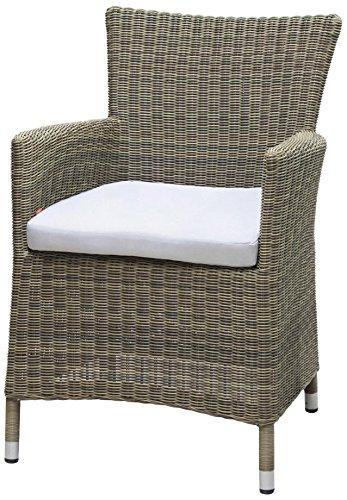 Siena Garden 255261 Sessel Ballina Aluminium-Gestell Gardino®-Geflecht mix-natur inkl. Kissen taupe, Aluminium-Fußkappen