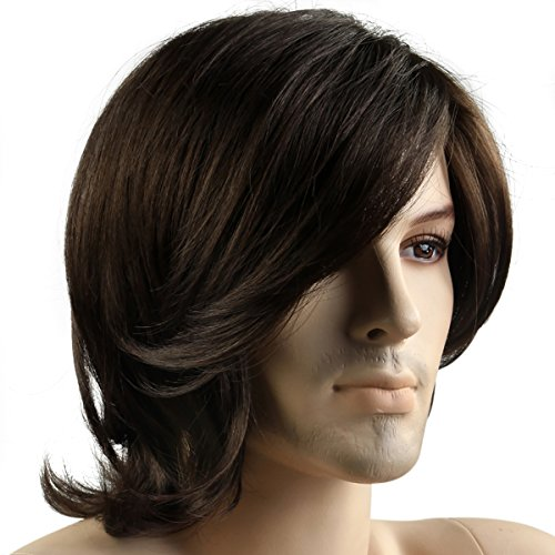 Mermaid Men's Wig New Fashion medium long hair wigs-Male COS Party hairpiece with japan (Mens Long Hair Wigs For Sale)