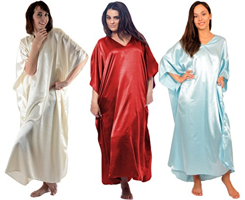 Stylish Satin Solid (Up2date Fashion 3 Satin Caftans Combo Pack,Solid Colors, Special-24)