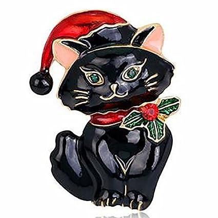 milopon Broche Navidad Gatos aleación Crystal Broches plata pin para Boda Joyas Accesorios abrigo Camisa Decoración