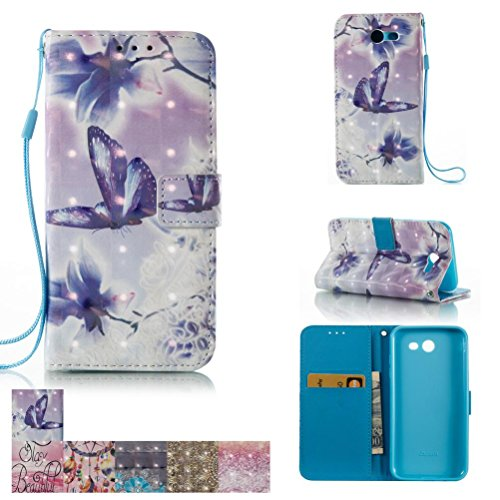Galaxy J3 Emerge Case, Galaxy J3 Prime/Amp Prime 2/Express Prime 2 Case, Kickstand Flip Wallet with Magnetic Closure for Samsung Galaxy J3 Emerge/ J3 Prime/ Amp Prime 2/ Express Prime 2 -Butterflies Cartoon Style Snap