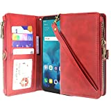 LG Stylo 4 Case, LG Q Stylus Case, Lacass Premium Leather Flip Zipper Wallet Case Cover Stand Feature with Card Holder and Wrist Strap for LG Stylo 4 (2018) - Zipper Red