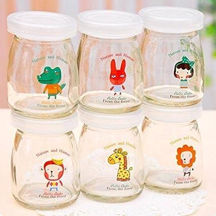 Saver 100ml pudÃn de vidrio de dibujos animados botella de yogur resistente a altas temperaturas