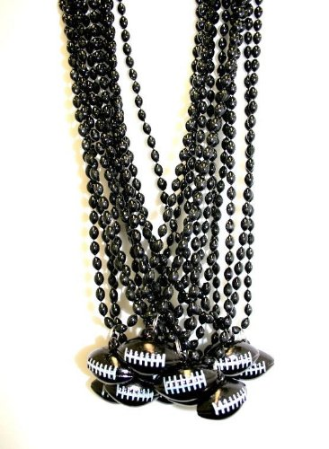 33 Inch - 6x9mm Oval Black Mardi Gras Beads with Football Pendant - Dozen (Football Mardi Gras Beads)