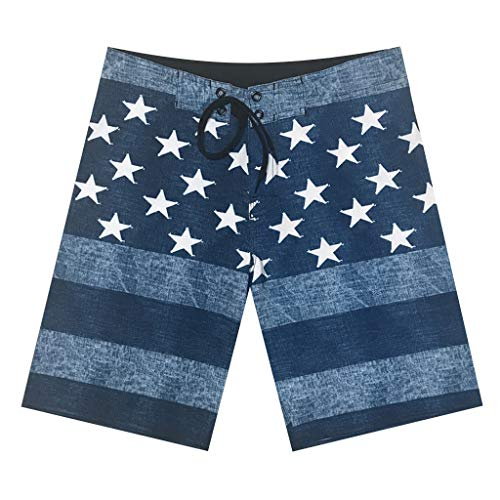 (Simayixx Men's Classic Fit Perfect Short Linen Pants Summer Beach Shorts American Flag Star Print Trousers Trunks Jeans Dark Blue)