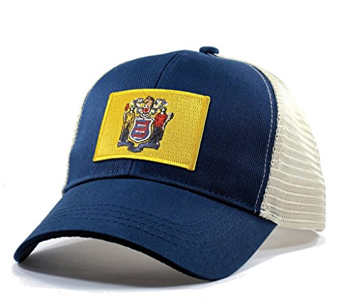 Homeland Tees Men's New Jersey Flag Patch Trucker Hat - (New Jersey Trucker Hat)