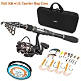 PLUSINNO Telescopic Fishing Rod and Reel Combos FULL Kit, Spinning Fishing Gear Organizer Pole Sets with Line Lures Hooks Reel and Fishing Carrier Bag Case Accessories (1.8M 5.91Ft Fishing Full Kit) For Sale