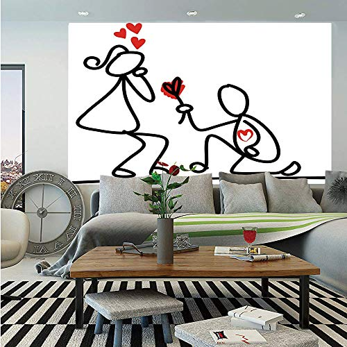 SoSung Engagement Party Decorations Wall Mural,Hand Drawn Kidergarten Themed Wedding Proposal Image,Self-Adhesive Large Wallpaper for Home Decor 55x78 inches,Black White and Red