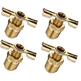 "(6 Pack) Brass Radiator Drain Cock Air Ride Suspension 1/8""NPT and 1/4""NPT for Air Tank Brass Winged Tank Drain Cock (1/8""NPT Metal Seal)"