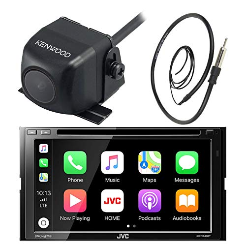 JVC 7 Inch Double Din Car CD DVD USB Bluetooth Stereo Receiver Bundle Combo with Kenwood Rearview Wide Angle View Backup Camera, Enrock 22 AM/FM Radio Antenna (Old School Receiver Stereo)
