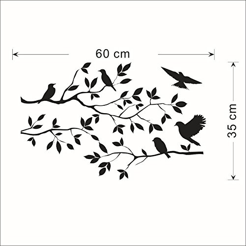 liuliuzuQQ Tree Bird Wall Decal Sticker Modern Minimalist Style Feather,Shining Space Decoration for Kids for Girls and Boys (Black)]()