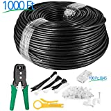 Maximm Cat6 Heavy Duty Outdoor Cable 1000 ft - Black - Zero Lag Pure Copper, Waterproof Ethernet Cable Suitable for Direct Burial Installations. Free Tools & Accessories Included