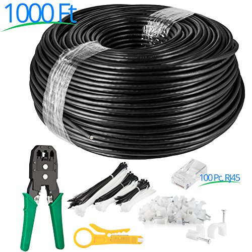 Maximm Cat6 Heavy Duty Outdoor Cable 1000 ft - Black - Zero Lag Pure Copper, Waterproof Ethernet Cable Suitable for Direct Burial Installations. Free Tools & Accessories Included by Maximm