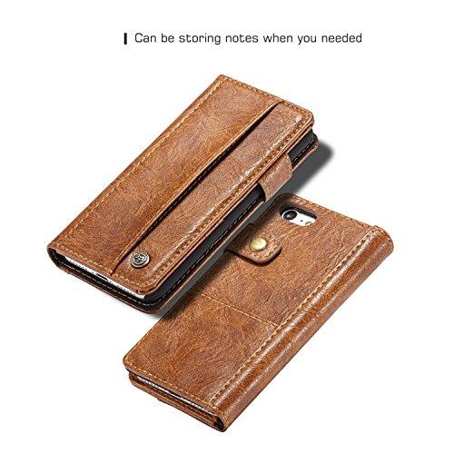 JIALUN-Caja del teléfono o cubierta CaseMe Fundas de cuero de lujo Genuin Fundas para iPhone 7/8 Soporte de la caja Flip Cover Wallet Ranura para tarjeta de teléfono magnético Shell Coque Protege tu t Brown