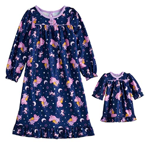 by Komar Peppa Pig Nightgown Toddler Girls Long Sleeve with Matching Doll Gown 2 PC Night Shirt Pjs (3T), Blue
