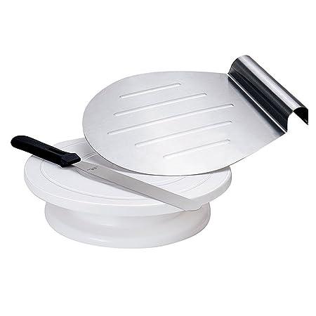 GA Homefavor 25 cm Kuchenständer Dekorieren rotierender Tortenständer Tortenplatte als Bundle - Inklusive Spatel und Kuchenli