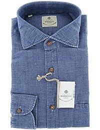 New Luigi Borrelli Denim Blue Melange Extra Slim Shirt