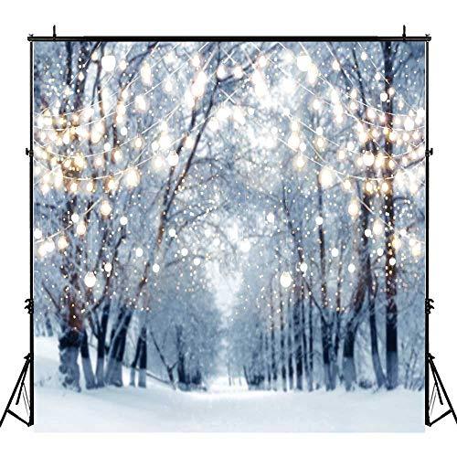 Funnytree 8x8ft Winter Scene Backdrop Wonderland Snowflake Photography Background Bokeh Glitter White Snow Forest Christmas Party Decoration Tree Landscape Kids Portrait Photobooth Photo Studio for $<!--$51.90-->