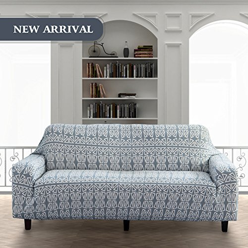 Lamberia Printed Sofa Cover Stretch Couch Cover Sofa Slipcovers for 3 Cushion Couch with One Pillow Case (3 Seater, Light Grey)