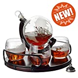 Whiskey Decanter Etched Globe NEW 2019 Gift Set- 4 glasses with NEWEST Wood Stand & Handles - Perfect Gift Set for Liquor, Scotch, Bourbon, Vodka