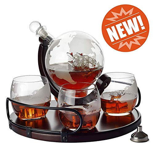 (Whiskey Decanter Etched Globe NEW 2019 Gift Set- 4 glasses with NEWEST Wood Stand & Handles - Perfect Gift Set for Liquor, Scotch, Bourbon, Vodka )