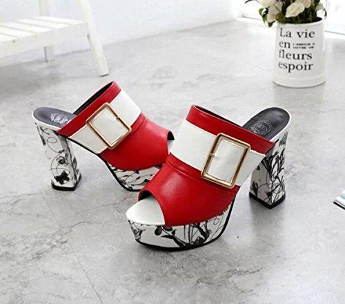 de Mujer Verano Mujer de tacón Sra caseros Gruesos con de con Zapatos con Moda Zapatillas Suela Zapatos Alto Hebilla para Suela Rojo de y Gruesa para Sandalias DANDANJIE Metal S5XTWqBz5
