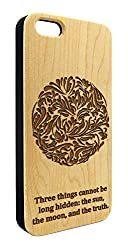 Genuine Maple Wood Organic Buddhism Inspirational Quote Snap-On Cover Hard Case for iPhone 5/5S