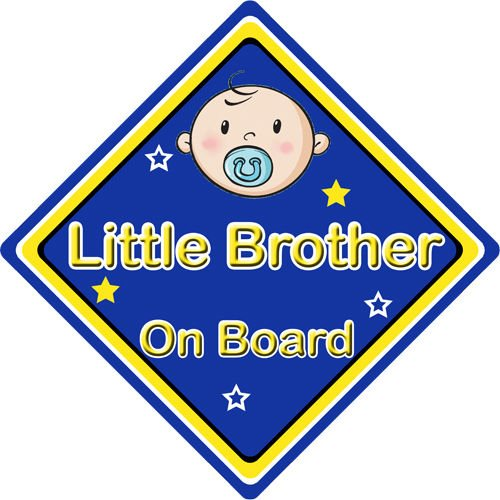 Non Personalised Child//Baby On Board Car Sign ~ Little Brother On Board ~ Blue