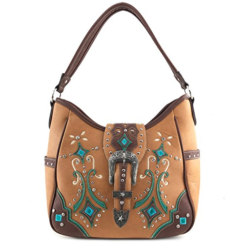 Justin West Tooled Western Leather Turquoise Concho Rhinestone Buckle Studded Shoulder Concealed Carry Handbag Purse (Light - Western Tooled Purse Leather Brown